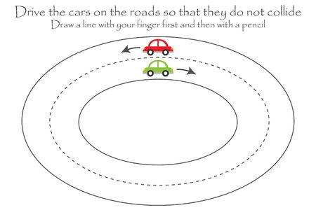 Drive the cars on the road, handwriting practice sheet, kids preschool activity, educational children game, printable worksheet, writing training, vector
