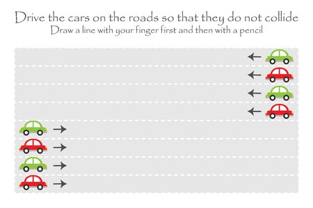 Drive the cars on the road in two directions, handwriting practice sheet, kids preschool activity, educational children game, printable worksheet, writing training, vector