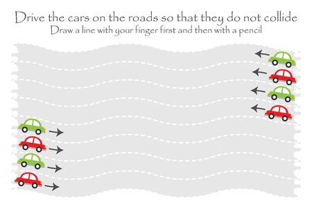 Drive the cars on the road in two directions, wavy handwriting practice sheet, kids preschool activity, educational children game, printable worksheet, writing training, vector
