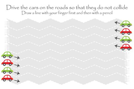 Drive the cars on the road in two directions, zigzag handwriting practice sheet, kids preschool activity, educational children game, printable worksheet, writing training, vector Иллюстрация