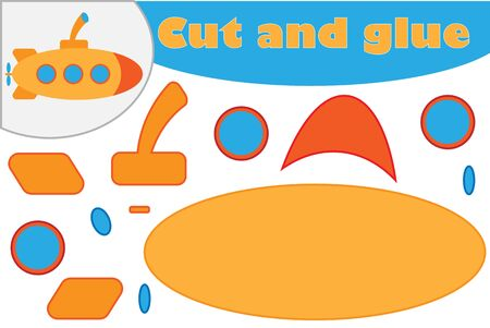 Submarine in cartoon style, education game for the development of preschool children, use scissors and glue to create the applique, cut parts of the image and glue on the paper, vector