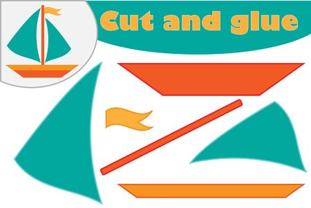 Ship in cartoon style, education game for the development of preschool children, use scissors and glue to create the applique, cut parts of the image and glue on the paper, vector Illustration