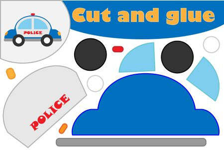 Police car in cartoon style, education game for the development of preschool children, use scissors and glue to create the applique, cut parts of the image and glue on the paper, vector Иллюстрация