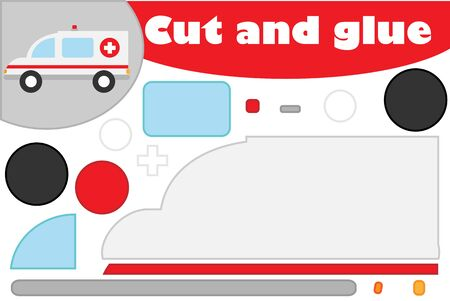 Ambulance in cartoon style, education game for the development of preschool children, use scissors and glue to create the applique, cut parts of the image and glue on the paper, vector Иллюстрация