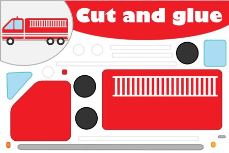 Fire truck in cartoon style, education game for the development of preschool children, use scissors and glue to create the applique, cut parts of the image and glue on the paper, vector