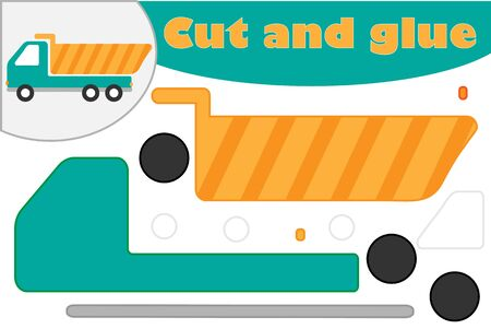Tipper truck in cartoon style, education game for the development of preschool children, use scissors and glue to create the applique, cut parts of the image and glue on the paper, vector