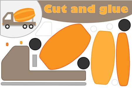 Concrete mixer cartoon style, education game for the development of preschool children, use scissors and glue to create the applique, cut parts of the image and glue on the paper, vector