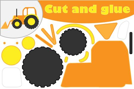 Bulldozer in cartoon style, education game for the development of preschool children, use scissors and glue to create the applique, cut parts of the image and glue on the paper, vector