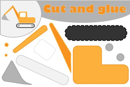 Excavator in cartoon style, education game for the development of preschool children, use scissors and glue to create the applique, cut parts of the image and glue on the paper, vector