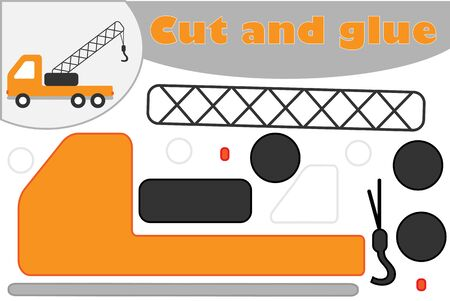 Ttruck crane in cartoon style, education game for the development of preschool children, use scissors and glue to create the applique, cut parts of the image and glue on the paper, vector