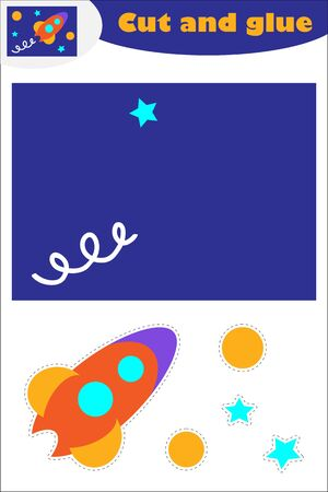 Rocket in cartoon style, education game for the development of preschool children, use scissors and glue to create the applique, cut parts of the image and glue on the paper, vector