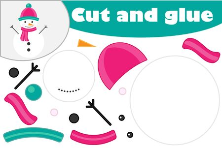 Christmas snowman cartoon style, education game for the development of preschool children, use scissors and glue to create the applique, cut parts of image and glue on the paper, vector Illustration