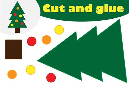 Christmas decoration tree cartoon, education game for the development of preschool children, use scissors and glue to create the applique, cut parts of image and glue on the paper, vector