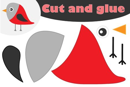 Bullfinch cartoon style, christmas education game for the development of preschool children, use scissors and glue to create the applique, cut parts of image and glue on the paper, vector