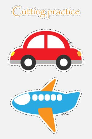 Car and plane in cartoon style, cutting practice, education game for the development of preschool children, use scissors, cut the images, vector