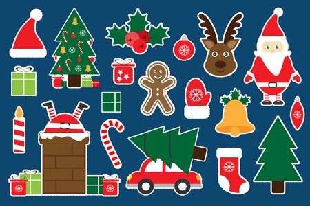 Different colorful christmas pictures for children, fun education game for kids, preschool activity, set of stickers, vector