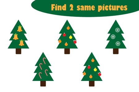 Find two identical pictures, fun education game with christmas trees cartoon for children, preschool worksheet activity for kids, task for the development of logical thinking, vector