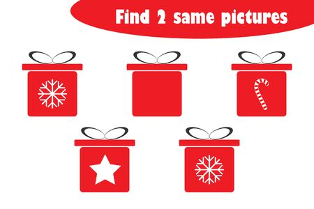 Find two identical pictures, fun education game with christmas gift boxes cartoon for children, preschool worksheet activity for kids, task for the development of logical thinking, vector
