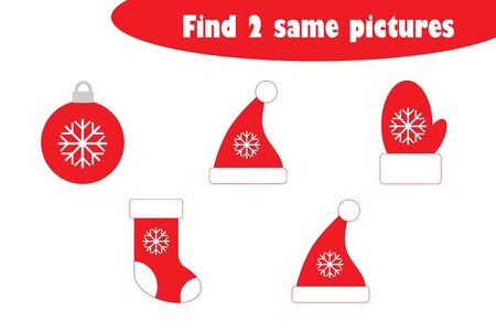 Find two identical pictures, fun education game with christmas images cartoon for children, preschool worksheet activity for kids, task for the development of logical thinking, vector Illustration
