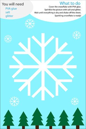 Christmas winter craft activity, snowflake cartoon, education game for development of preschool children, use glue, glitter and salt to create the applique, art worksheet for kids, vector