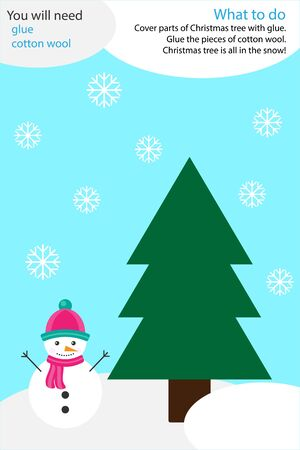 Christmas winter craft activity, snow and tree, education game for development of preschool children, use glue and cotton wool to create the applique, art worksheet for kids, vector Illustration