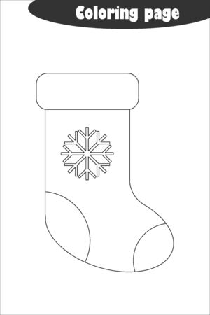 Xmas boot in cartoon style, coloring page, christmas education paper game for the development of children, kids preschool activity, printable worksheet, vector Illustration