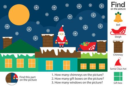 Activity page, christmas picture in cartoon style, find images and answer the questions, visual education game for the development of children, kids preschool activity, worksheet, vector