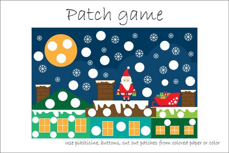 Education Patch game christmas for children to develop motor skills, use plasticine patches, buttons, colored paper or color the page, kids preschool activity, printable worksheet, vector