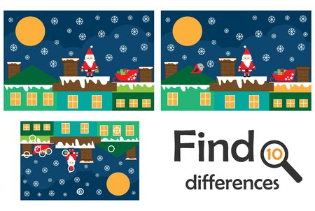 Find 10 differences, game for children, Santa on the roof. christmas cartoon, education game for kids, preschool worksheet activity, task for the development of logical thinking, vector Illustration