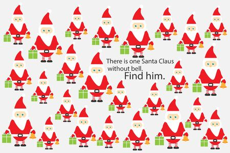 Find Santa Claus without bell, christmas fun education puzzle game for children, preschool worksheet activity for kids, task for illustration