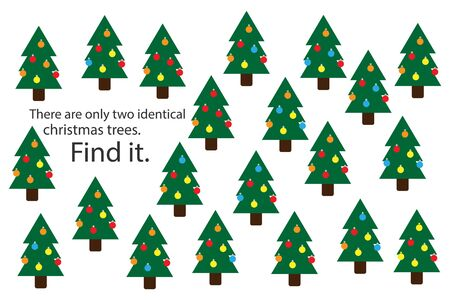 Find two identical christmas trees, xmas fun education puzzle game for children, preschool worksheet activity for kids, task for the development of logical thinking and mind, vector
