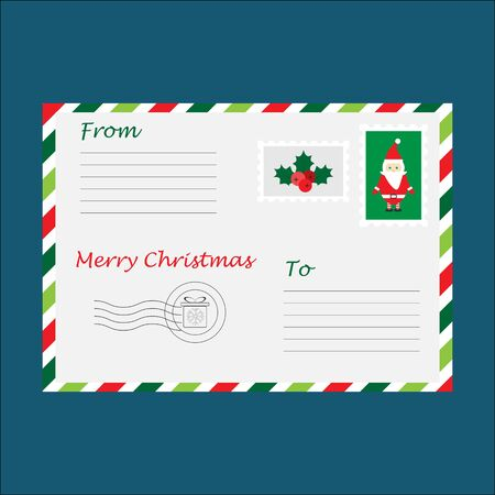 Christmas envelope for letter to Santa Claus for children, template, fun preschool activity for kids, vector Иллюстрация