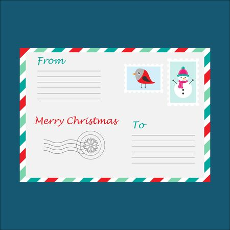Christmas envelope for letter to Santa Claus for children, template, fun preschool activity for kids, vector Illustration