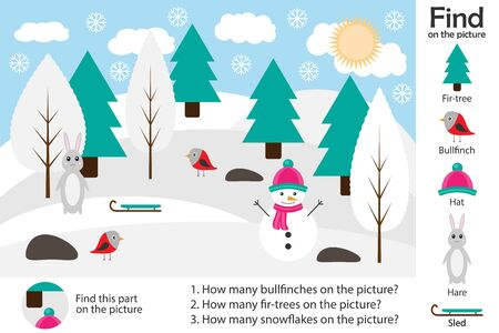 Activity page, winter forest in cartoon style, find images and answer the questions, visual education game for the development of children, kids preschool activity, worksheet, vector