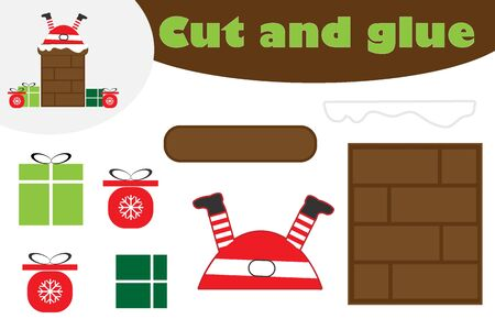 Santa in chimney cartoon, christmas education game for the development of preschool children, use scissors and glue to create the applique, cut parts of image and glue on the paper, vector Иллюстрация