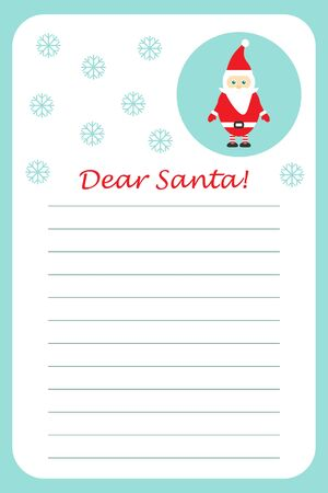 Christmas letter to Santa Claus for children, template layot, fun preschool activity for kids, vector