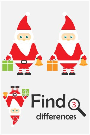 Find 3 differences, christmas game for children, Santa Claus in cartoon style, education game for kids, preschool worksheet activity, task for the development of logical thinking, vector