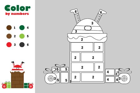 Santa in chimney in cartoon style, color by number, christmas education paper game for the development of children, coloring page, kids preschool activity, printable worksheet, vector