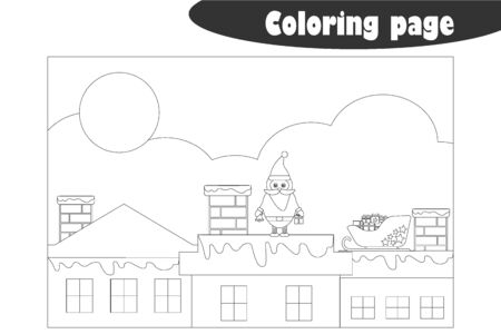 Santa Claus on the roof in cartoon style, coloring page, christmas education paper game for the development of children, kids preschool activity, printable worksheet, vector