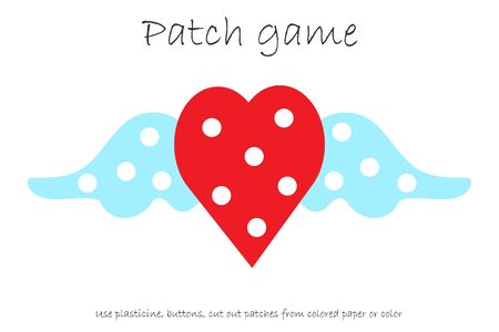 Education Patch game heart for children to develop motor skills, use plasticine patches, buttons, colored paper or color the page, kids preschool activity, printable worksheet, vector