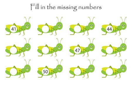 Game with grasshoppers for children, fill in the missing numbers, middle level, education game for kids, school worksheet activity, task for the development of logical thinking, vector