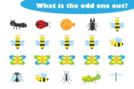 What is the odd one out for children, insects theme in cartoon style, fun education game for kids, preschool worksheet activity, task for the development of logical thinking, vector