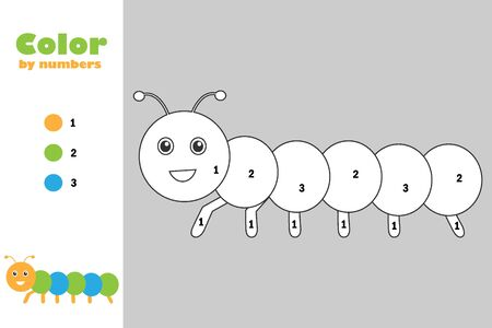 Caterpillar in cartoon style, color by number, education paper game for the development of children, coloring page, kids preschool activity, printable worksheet, vector