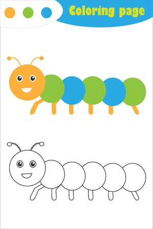 Caterpillar in cartoon style, coloring page, spring education paper game for the development of children, kids preschool activity, printable worksheet, vector