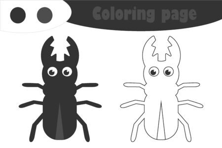 Beetle in cartoon style, coloring page, spring education paper game for the development of children, kids preschool activity, printable worksheet, vector 일러스트