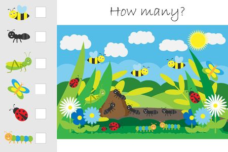 How many counting game, glade with insects for kids, educational maths task for the development of logical thinking, preschool worksheet activity, count and write the result, vector