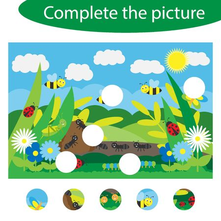 Complete the puzzle and find the missing parts of the picture, insect fun education game for children, preschool worksheet activity for kids, task for the development of logical thinking