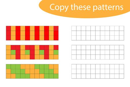 Copy these patterns, pixel art, drawing skills training, educational paper game for the development of children, kids preschool activity, printable worksheet, vector
