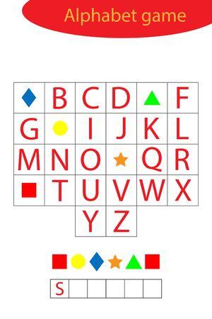Shapes alphabet game for children, make a word, preschool worksheet activity for kids, educational spelling scramble game for the development of children, vector