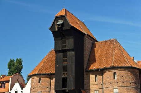 Poland. Gdansk old city with medieval port crane Zuraw and Motlawa River. Stockfoto